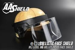 AA Shield Ballistic Glass Visor Bullet Proof Face Mask For Helmet Lvl IIIA 3A