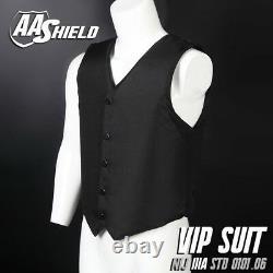 AA Shield Bullet Proof VIP Suit Body Armor Vest Aramid Carrier Lvl IIIA XL Black