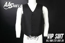 AA Shield Bullet Proof VIP Suit Vest Concealable Aramid Armor Lvl IIIA3A L Black