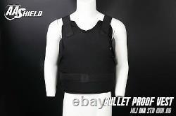 AA Shield Bullet Proof Vest Comfort Concealable Body Armor Lvl IIIA3A XXL Black