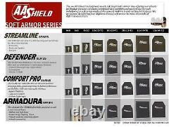 AA Shield Defender Bulletproof Soft Body Armor Aramid Plate 3A&HG2 10x12-T2 Pair