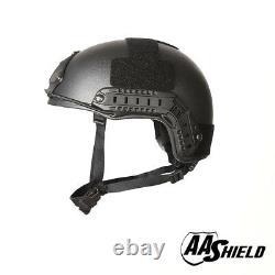 AA Shield Tactical Ballistic Helmet High Cut Bullet Proof Lvl IIIA 3A BK L/XL