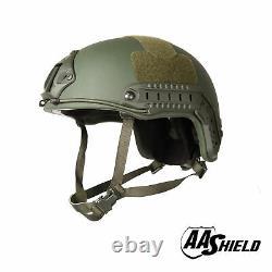 AA Shield Tactical Ballistic Helmet High Cut Bullet Proof NIJ IIIA 3A OD L/XL