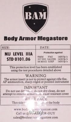 BALLISTIC SHIELD Bullet Proof Level IIIA L3A+ 12x23 STOPS. 44 MAG -L Shape