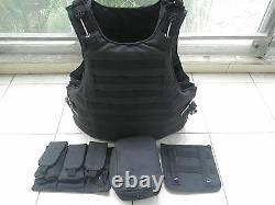 Black Combat Tactical Soft Bullet proof vest IIIA NIJ0101.06 SIZEM