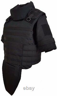 Black size S set Body Armor Gear Protection vest & leg & arm bulletproof pads