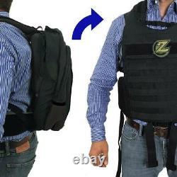 Masada Black Bulletproof Backpack Full Body Armor/Bulletproof Vest (IIIA)